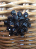 French Jet Black Glass Brooch Pin dates to the 1960s